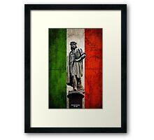 Christopher Columbus Statue with Italian Flag Framed Print