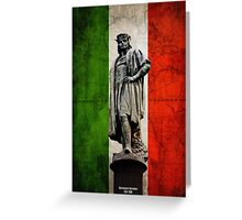 Christopher Columbus Statue with Italian Flag Greeting Card