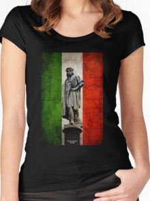 Christopher Columbus Statue with Italian Flag Women's Fitted Scoop T-Shirt