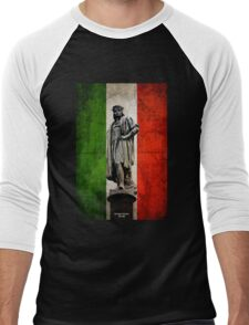 Christopher Columbus Statue with Italian Flag Men's Baseball ¾ T-Shirt