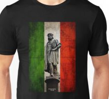 Christopher Columbus Statue with Italian Flag Unisex T-Shirt