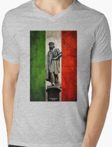 Christopher Columbus Statue with Italian Flag Mens V-Neck T-Shirt