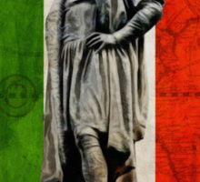 Christopher Columbus Statue with Italian Flag Sticker