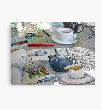 the sketching tea party Metal Print