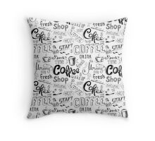 Coffee , hand drawn lettering Throw Pillow