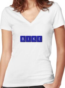 Bike Scrabble (Blue) Women's Fitted V-Neck T-Shirt