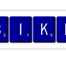 Bike Scrabble (Blue) Sticker