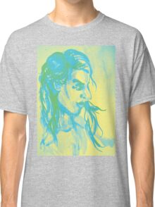 Colorful delicate watercolor portrait of girl Classic T-Shirt