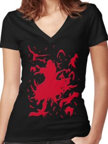 Red Minimalist Women's Fitted V-Neck T-Shirt