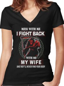 Mess with my Wife , gift for husband on xmas Women's Fitted V-Neck T-Shirt