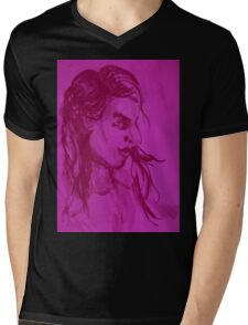 Colorful delicate watercolor portrait of girl Mens V-Neck T-Shirt
