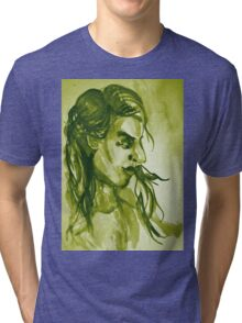 Colorful delicate watercolor portrait of girl Tri-blend T-Shirt