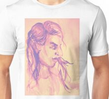 Colorful delicate watercolor portrait of girl Unisex T-Shirt