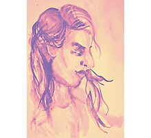 Colorful delicate watercolor portrait of girl Photographic Print