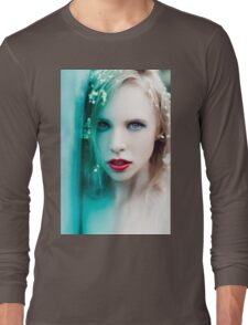 blonde woman with flowers Long Sleeve T-Shirt