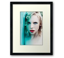 blonde woman with flowers Framed Print