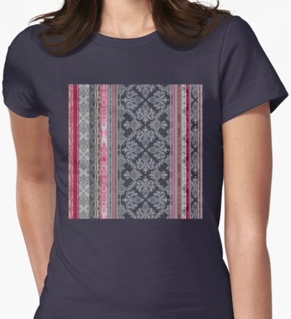 Burgundy, Pink, Navy & Grey Vintage Bohemian Wallpaper Womens Fitted T-Shirt