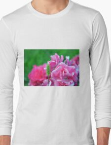 Natural background with pink roses and green leaves. Long Sleeve T-Shirt