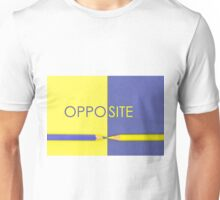 Word OPPOSITE written over Yellow and Violet coloured paper Unisex T-Shirt
