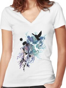 HARRY POTTER HEDWIG WATERCOLOUR  Women's Fitted V-Neck T-Shirt