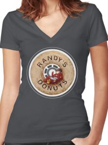 Randy's Donuts Women's Fitted V-Neck T-Shirt