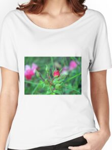 Natural background with pink roses and green leaves. Women's Relaxed Fit T-Shirt