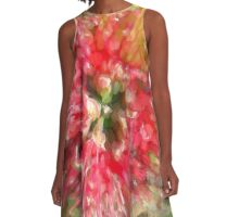Surreal Salmon Flower A-Line Dress