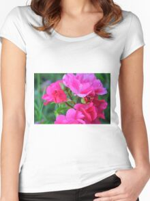 Natural background with pink roses and green leaves. Women's Fitted Scoop T-Shirt