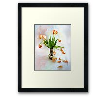 Colorful Tulips in an Antique Silver Pot Framed Print