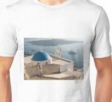 Blue Domed Santorini Church Unisex T-Shirt