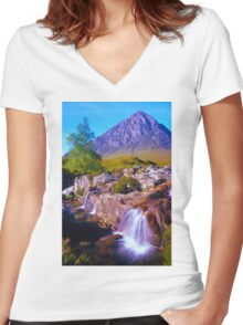 Tranquil valley Women's Fitted V-Neck T-Shirt