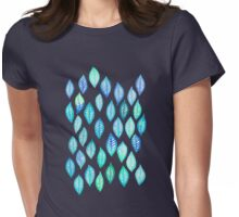 Watercolor Leaf Pattern in Blue & Turquoise Womens Fitted T-Shirt