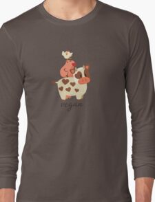 Happy Cow, Pig, and Chicken - Vegan Long Sleeve T-Shirt