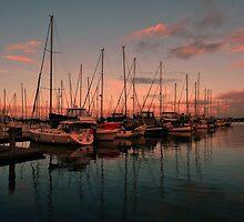 Pre Sunrise, Scarborough Boat Harbour. Brisbane, Qld, Australia. by Ralph de Zilva