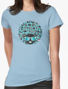 Robots faces blue Womens Fitted T-Shirt
