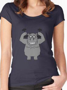 hanteln stark muskeln bodybuilding nerd geek trainieren lustiges süßes niedliches dickes comic cartoon nilpferd fett hippo  Women's Fitted Scoop T-Shirt
