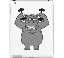 hanteln stark muskeln bodybuilding nerd geek trainieren lustiges süßes niedliches dickes comic cartoon nilpferd fett hippo  iPad Case/Skin