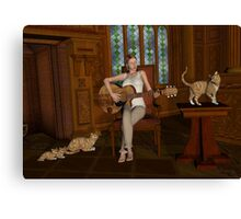 A Song For Her Cats Canvas Print