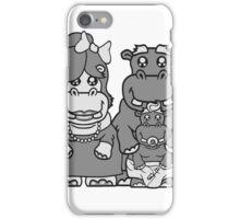 glücklich papa mama familie nachwuchs eltern baby schnuller kleines lustiges süßes niedliches dickes comic cartoon nilpferd fett hippo  iPhone Case/Skin