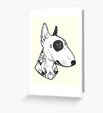 Tattooed Bullterrier Greeting Card