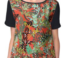 Red Leaves Chiffon Top