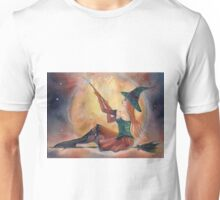 Ginger Halloween witch on broomstick by Renee Lavoie Unisex T-Shirt