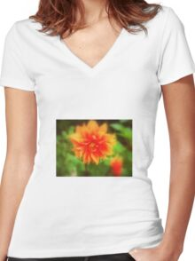 Hot Orange Women's Fitted V-Neck T-Shirt