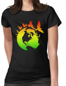 Mother Earth Birds (rasta colors) Womens Fitted T-Shirt