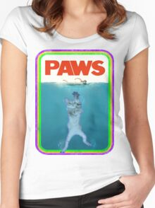 Paws Jaws Movie parody T Shirt Women's Fitted Scoop T-Shirt