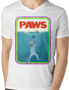 Paws Jaws Movie parody T Shirt Mens V-Neck T-Shirt
