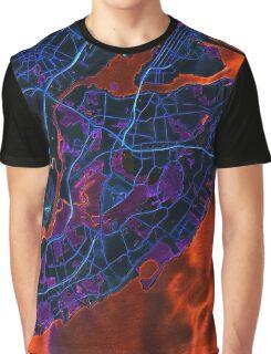 Dark map of Staten Island NYC Graphic T-Shirt