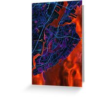 Dark map of Staten Island NYC Greeting Card