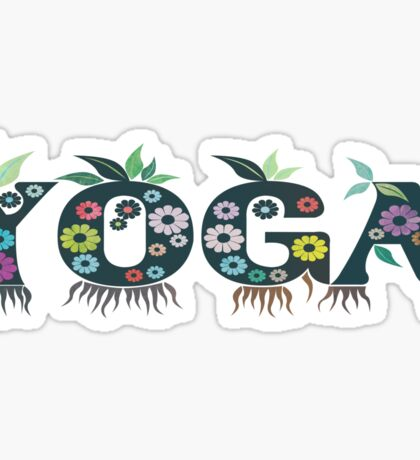 Cute Inspirational and Motivational Floral Yoga Text T-Shirts and Gifts Sticker
