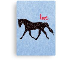 Cute Horse, Hearts and Love Canvas Print